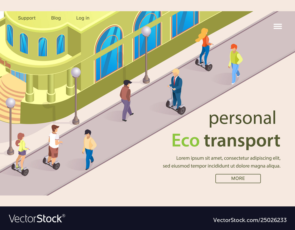 Flat banner is written personal eco transport