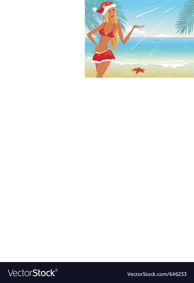 Girl on the beach in santa hat