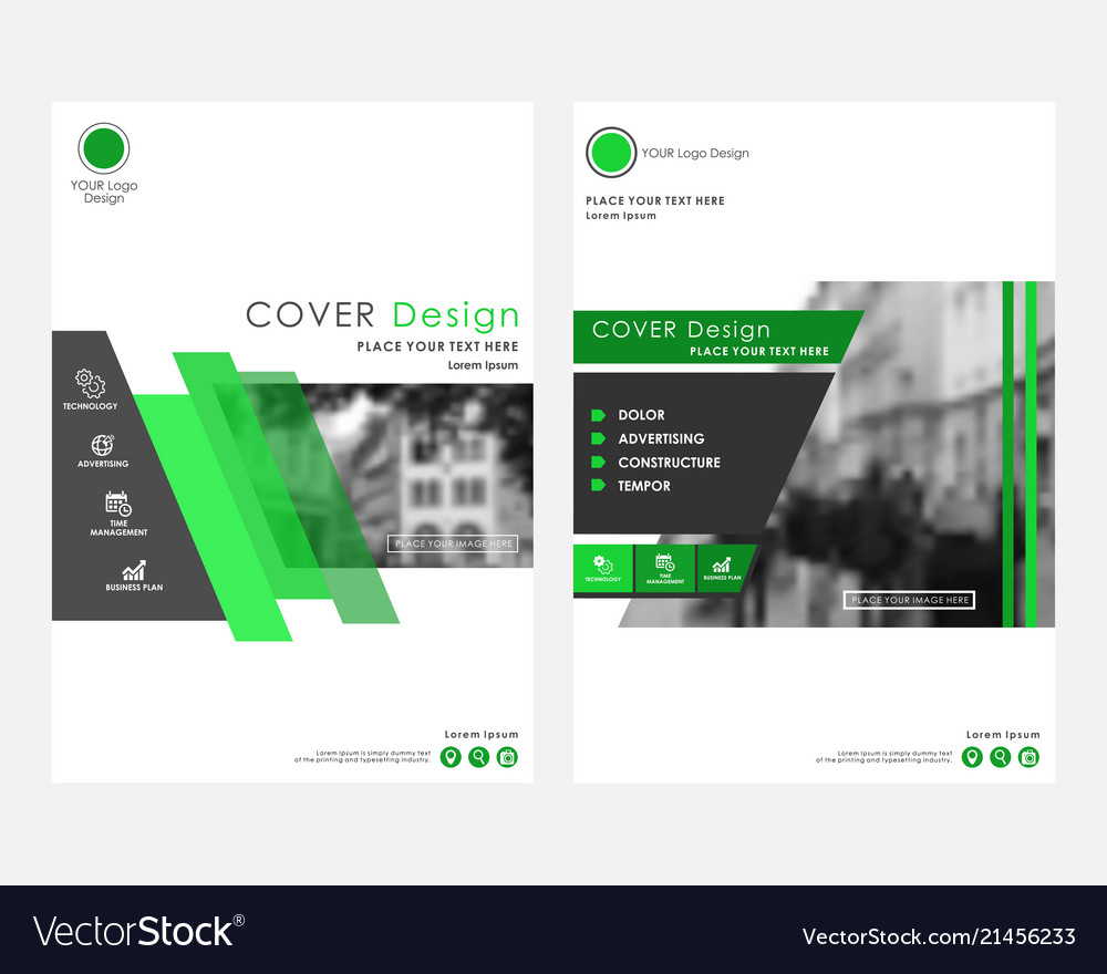 Green square annual report cover design template