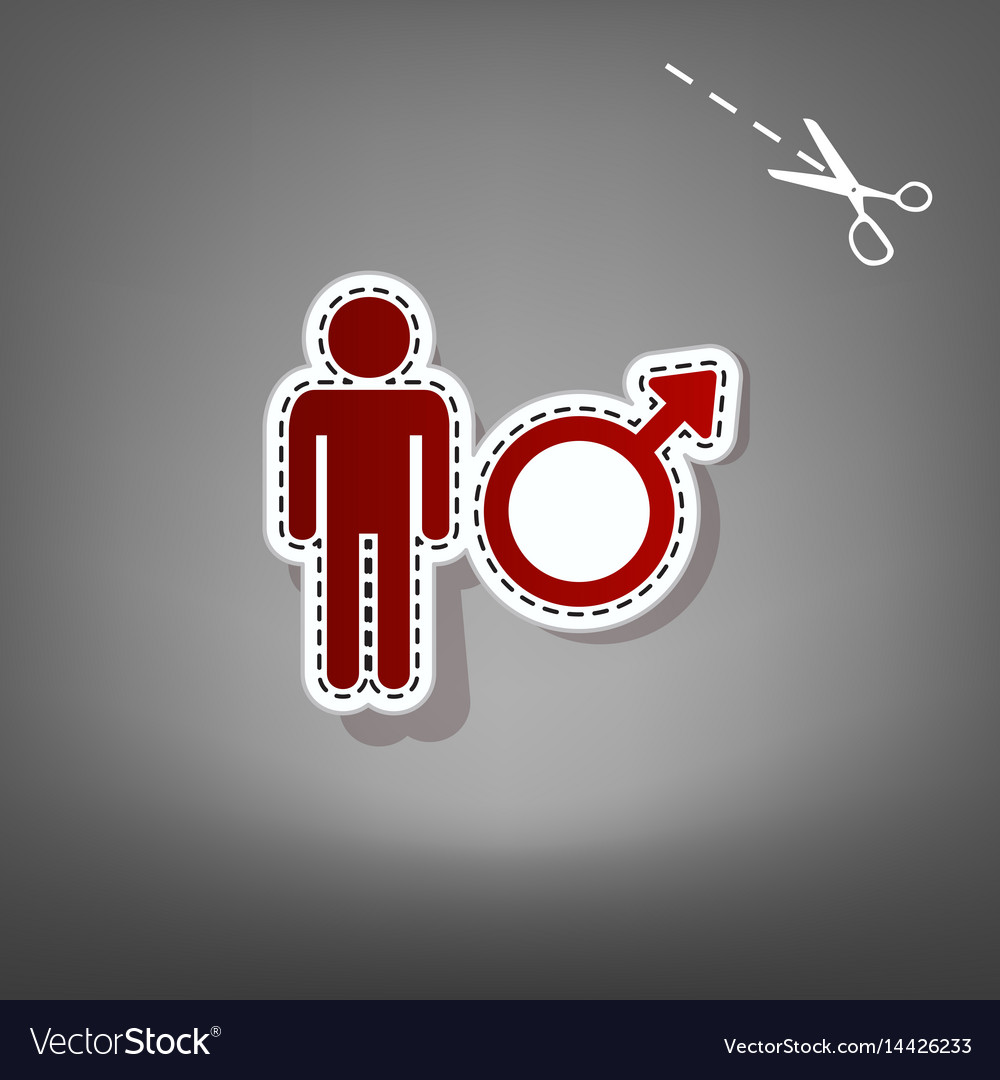 Male sign red icon with for