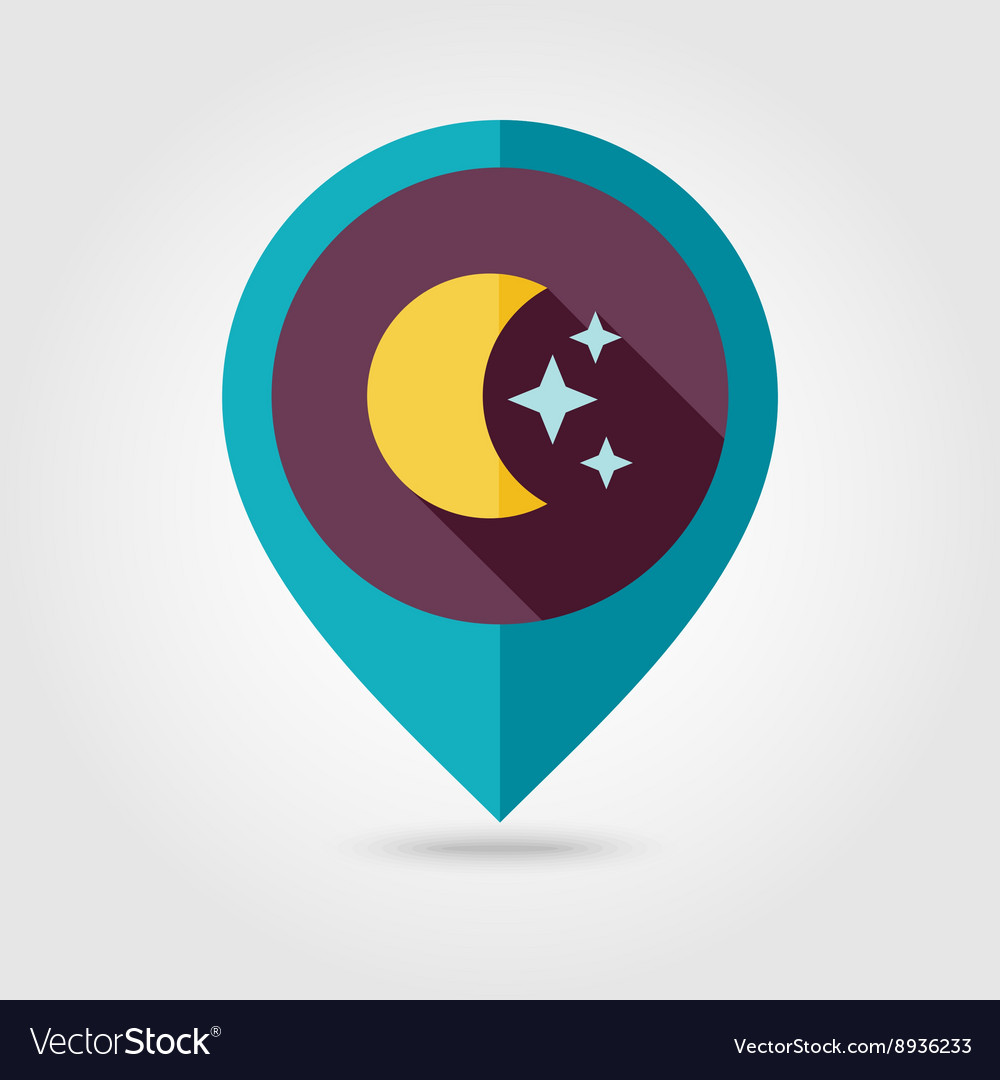 Moon and stars flat pin map icon Weather