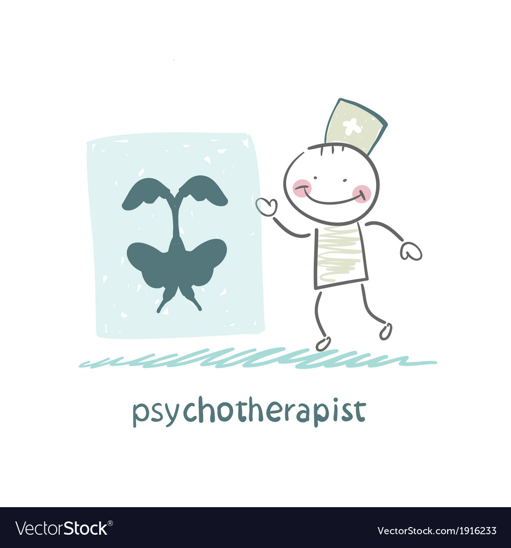 Psychotherapist shows a picture test vector image