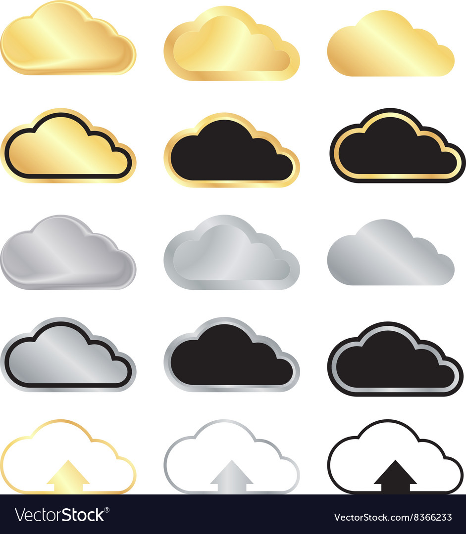 Set of blank gold and silver clouds and black with