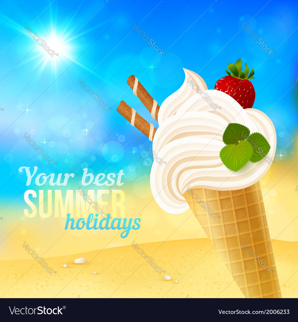 soft strawberry ice cream on beach background vector image vectorstock