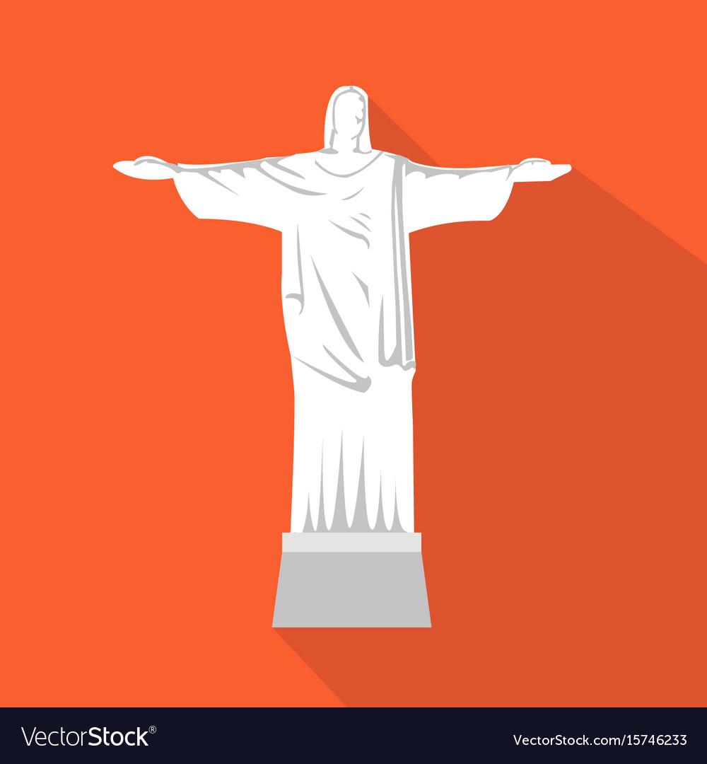 Statue of jesus cartoon flat icon brazil rio
