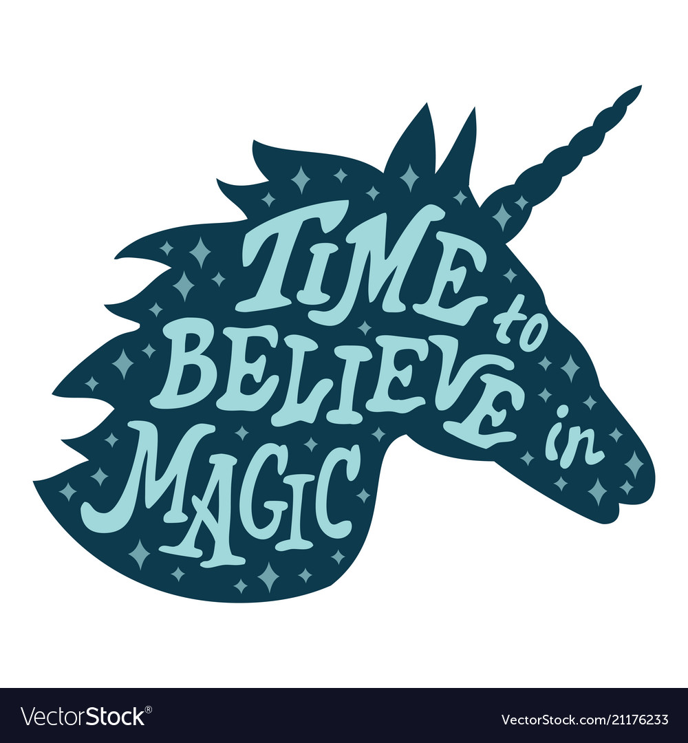 Unicorn silhouette head with motivation