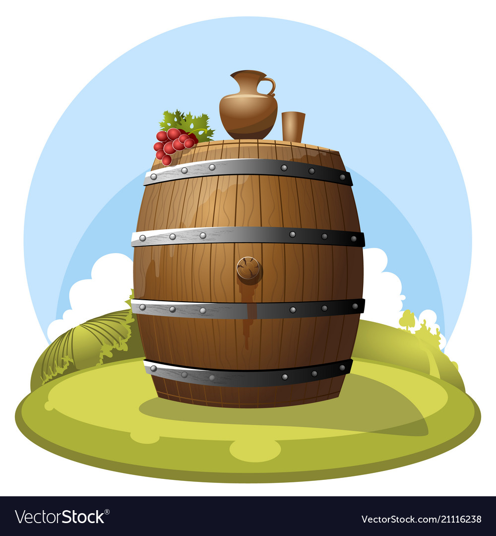 A barrel of wine on a hill with a jug and grapes