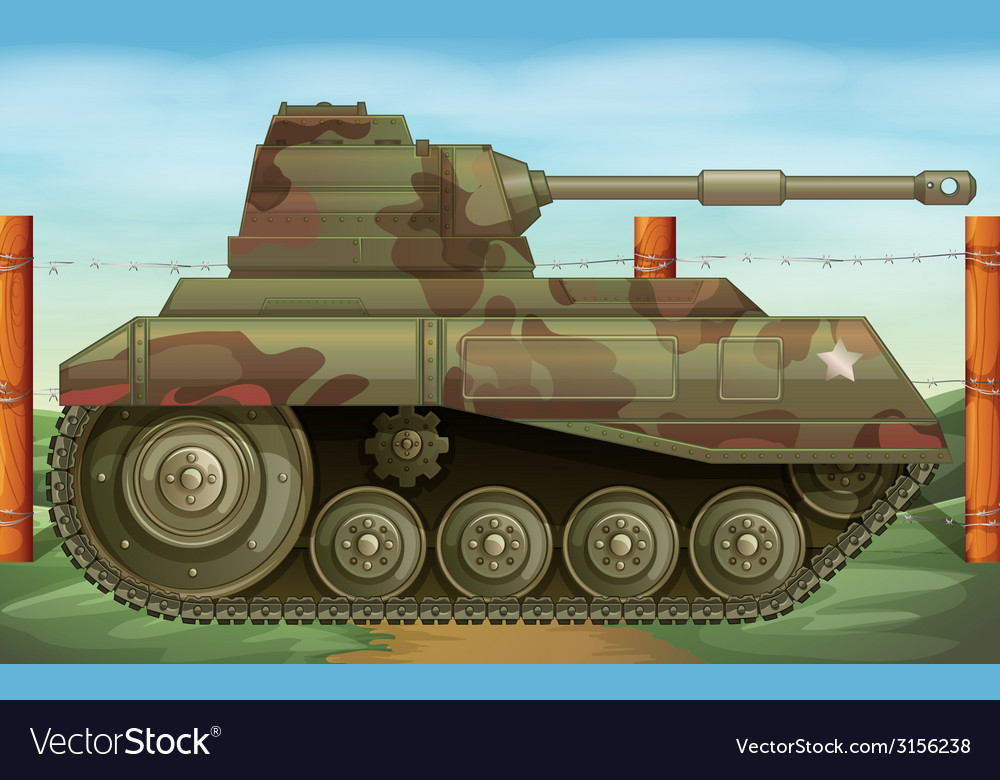 An armoured tank at the battlefield