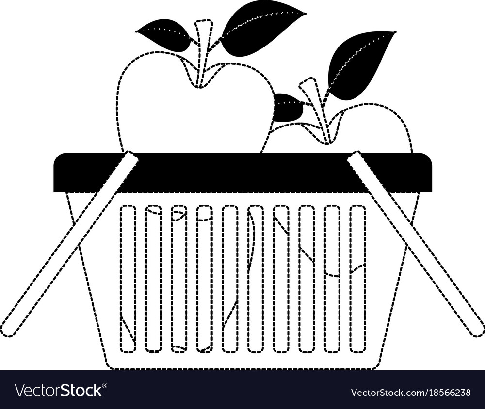 Basket shopping with apples fruits in black dotted vector image