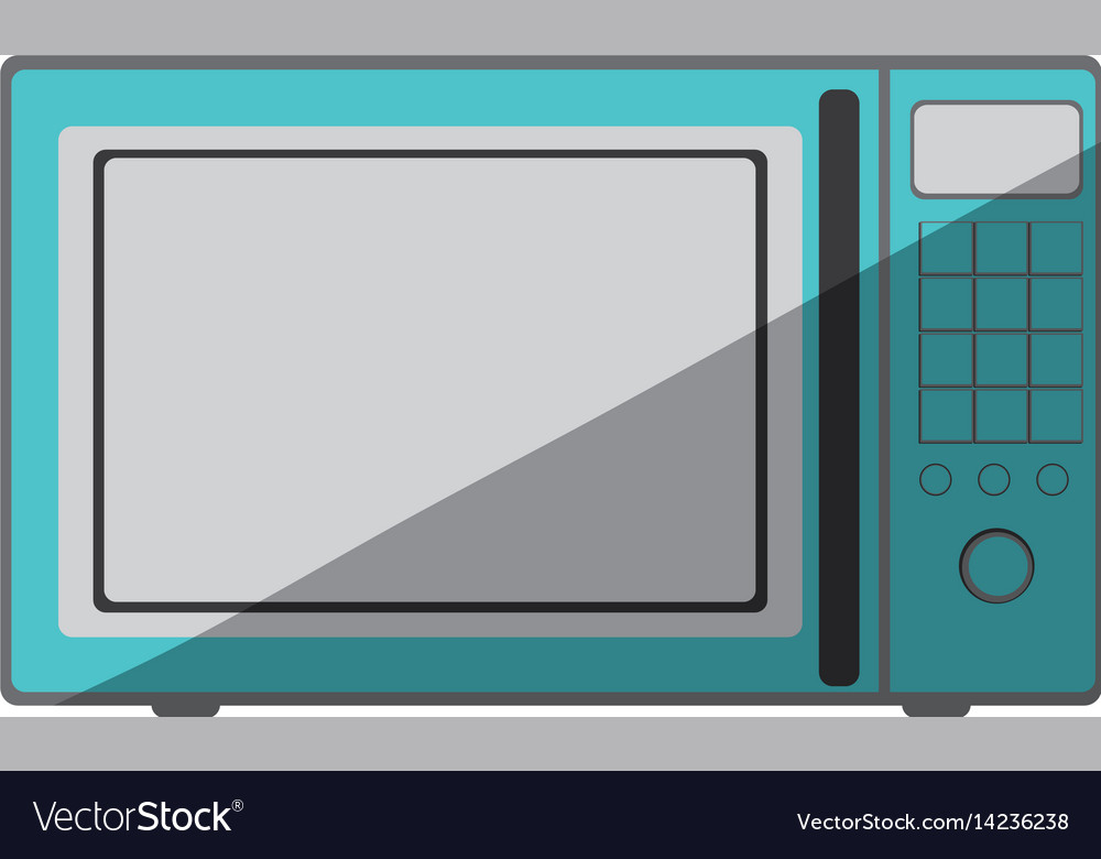 Blue Color Silhouette Of Oven Microwave
