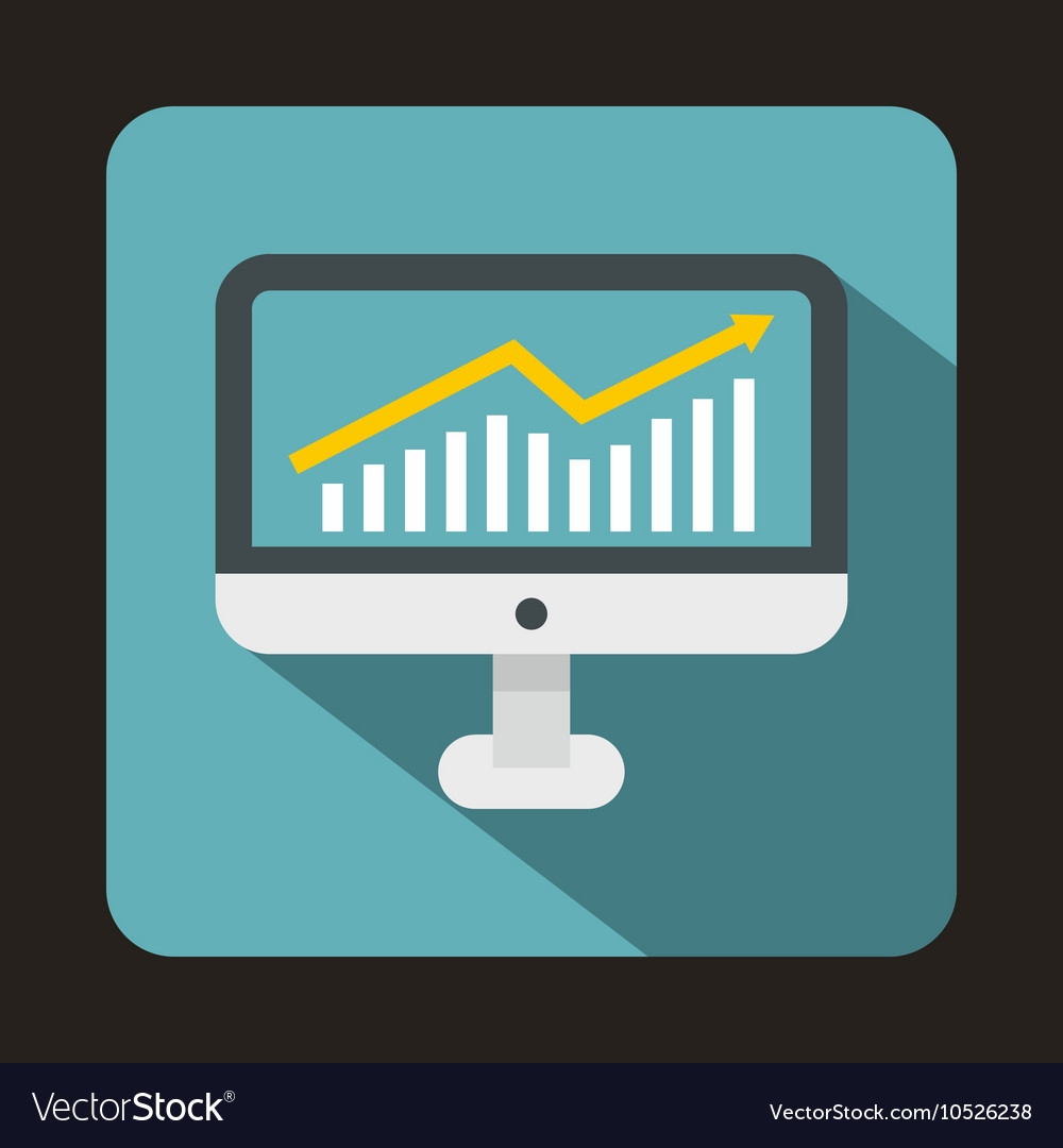 Graph on computer screen icon flat style