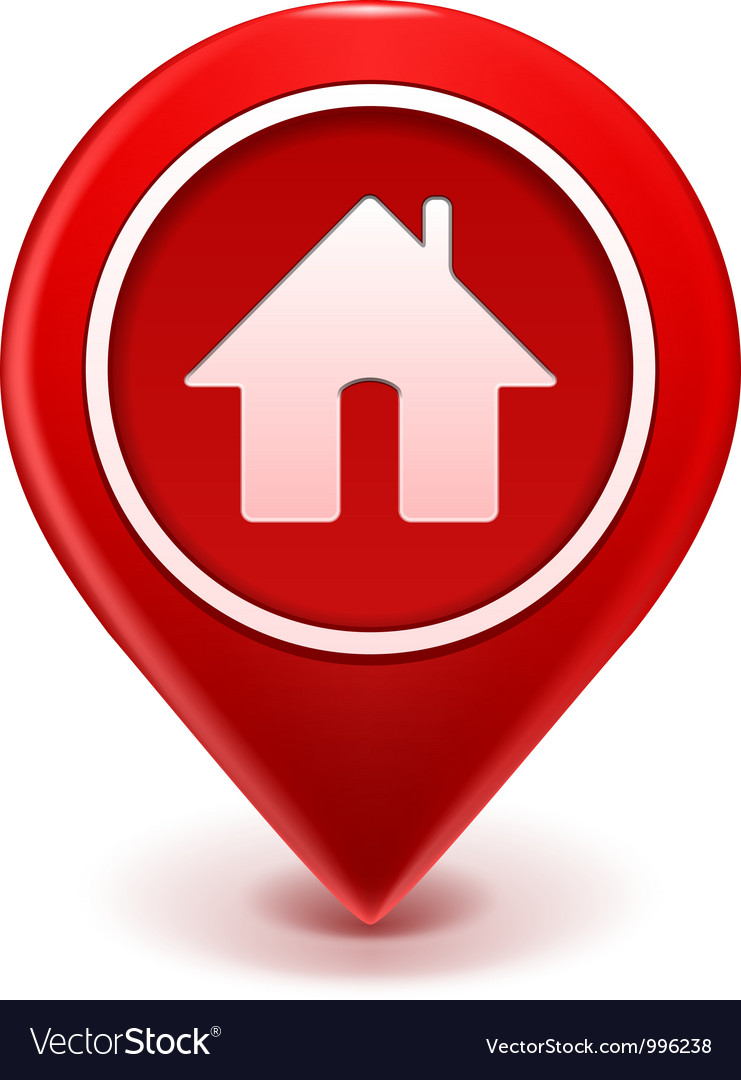 Home icon pin Royalty Free Vector Image   VectorStock