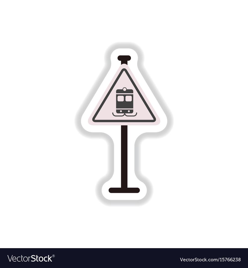 In paper sticker style tram