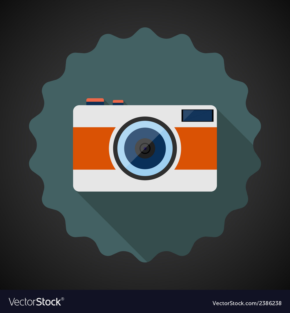 Old Retro Camera Flat Icon with long shadow