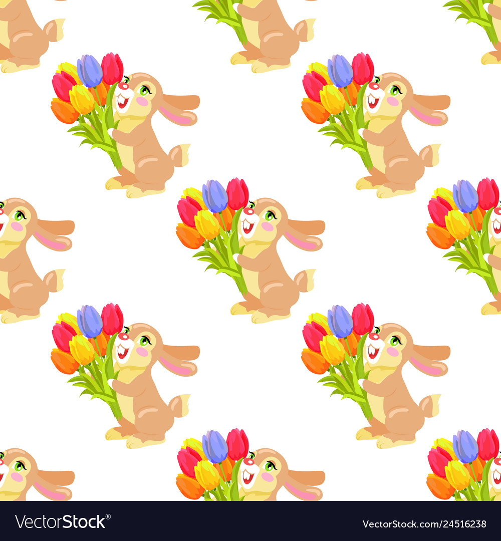 Seamless pattern with chocolate bunny and bouquet