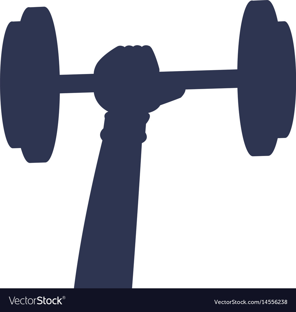 Silhouette hand holding barbell sport icon