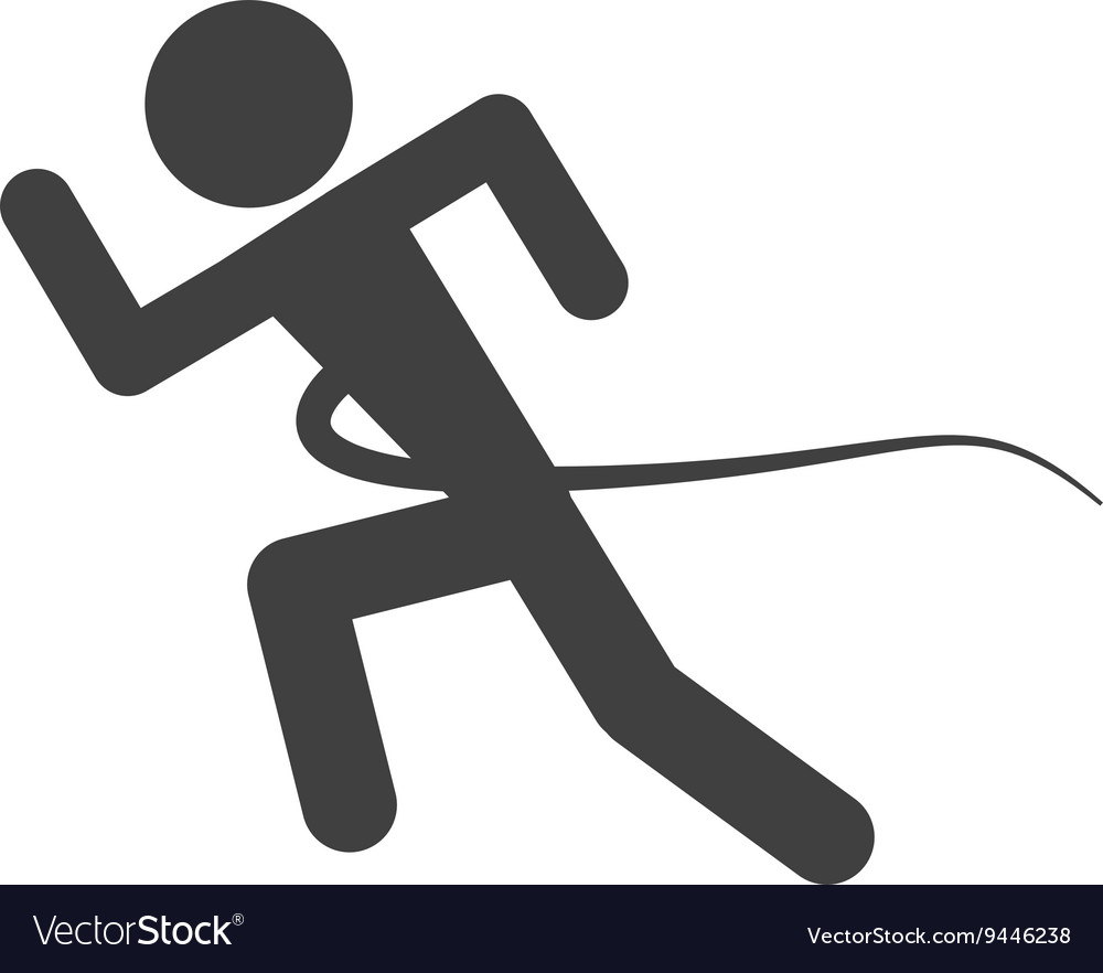 Silhouette of person running into finish line vector image