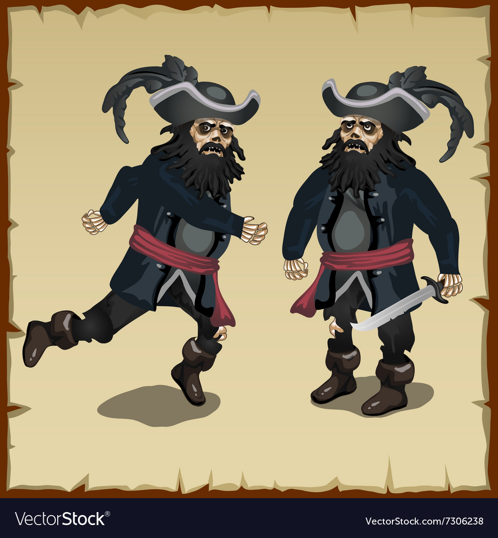Two image pirate standing and running