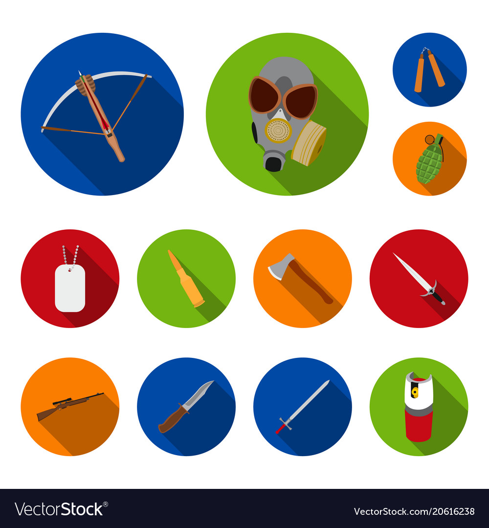 Types weapons flat icons in set collection