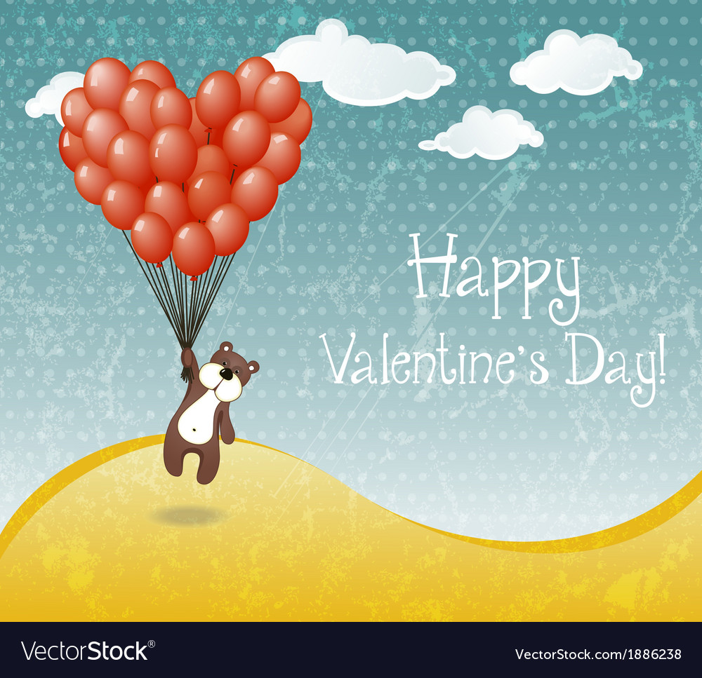 Valentines day card with flying teddy bear