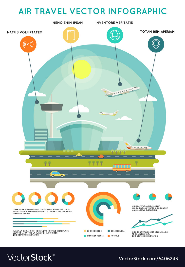 Air travel infographic template with