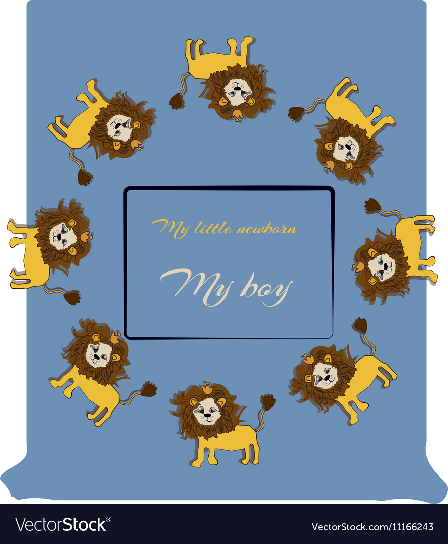 Baby shower design with cute jungle lions