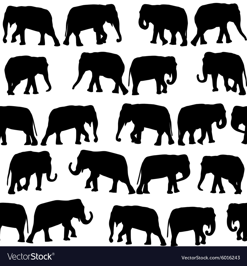 Black elephants seamless pattern