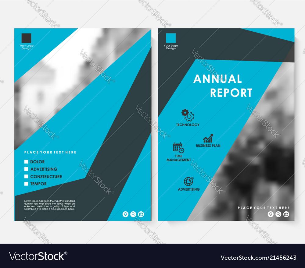 Blue square annual report cover design template
