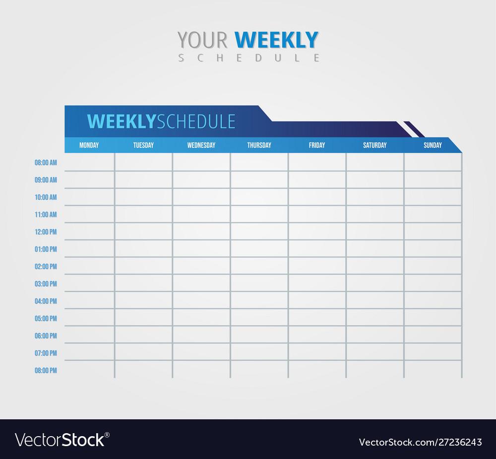 Business Weekly Schedule Calendar Template Vector Image