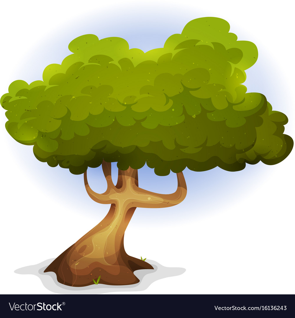 Cartoon funny spring tree vector image