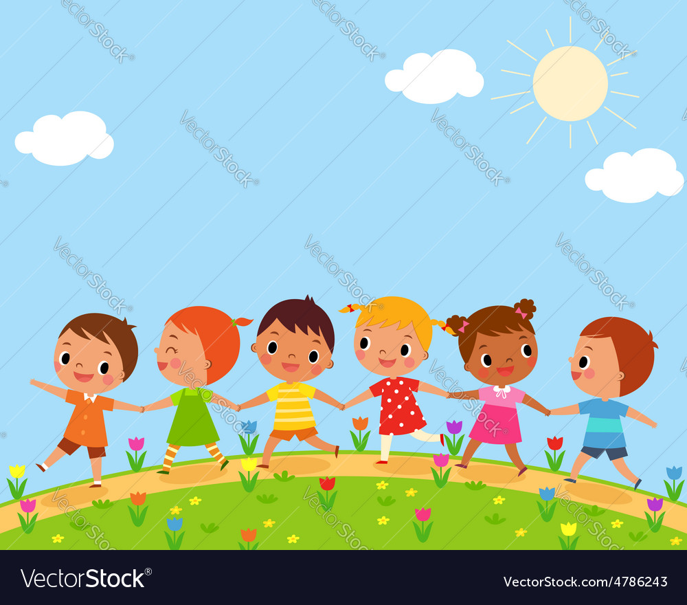 Children walk on a beautiful spring day Royalty Free Vector