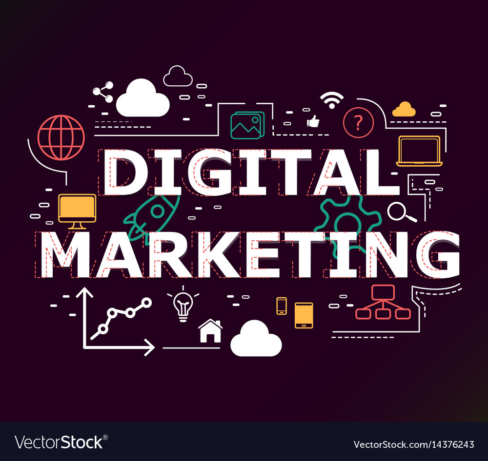 Creative of digital marketing word lettering vector image