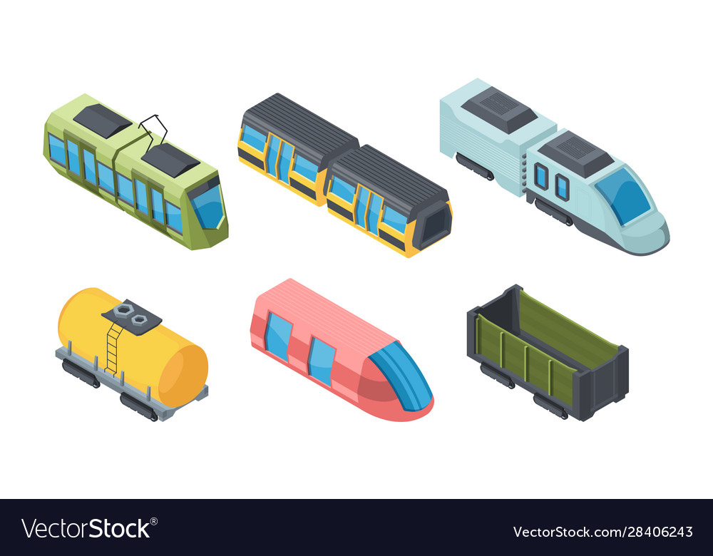 Different trains isometric 3d