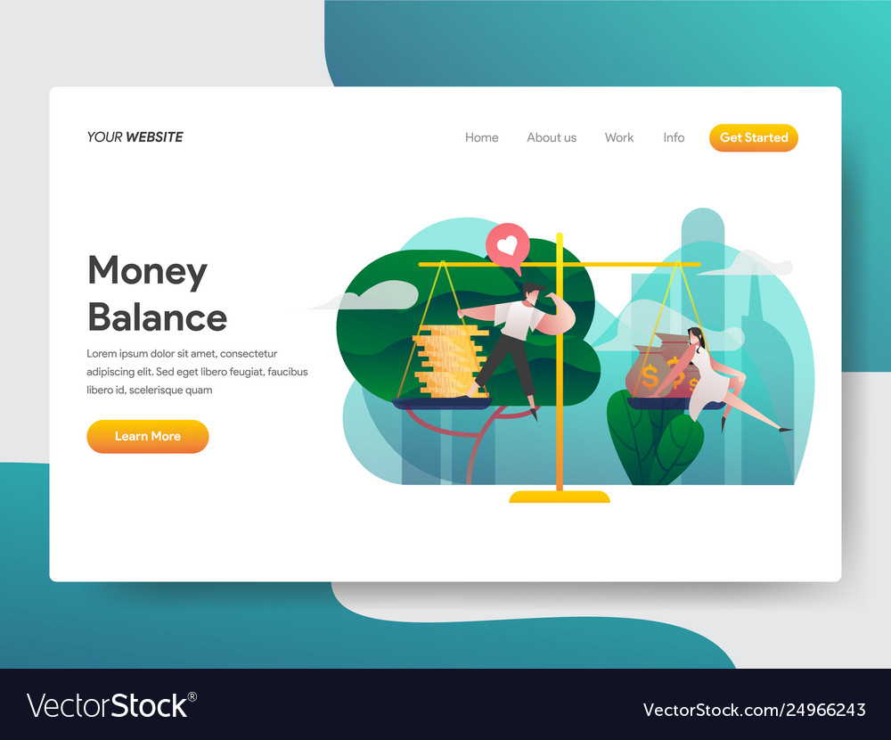 Landing page template money balance concept