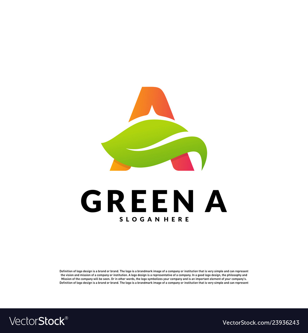 Letter a with leaf logo template green initial a