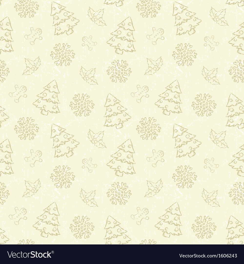 Seamless Christmas pattern with tree and snowflake vector image