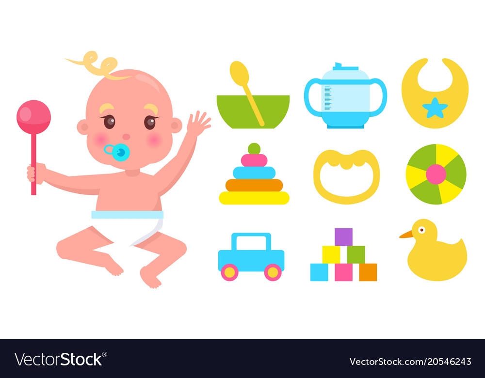 Baby Holding Rattle Vector Images 55