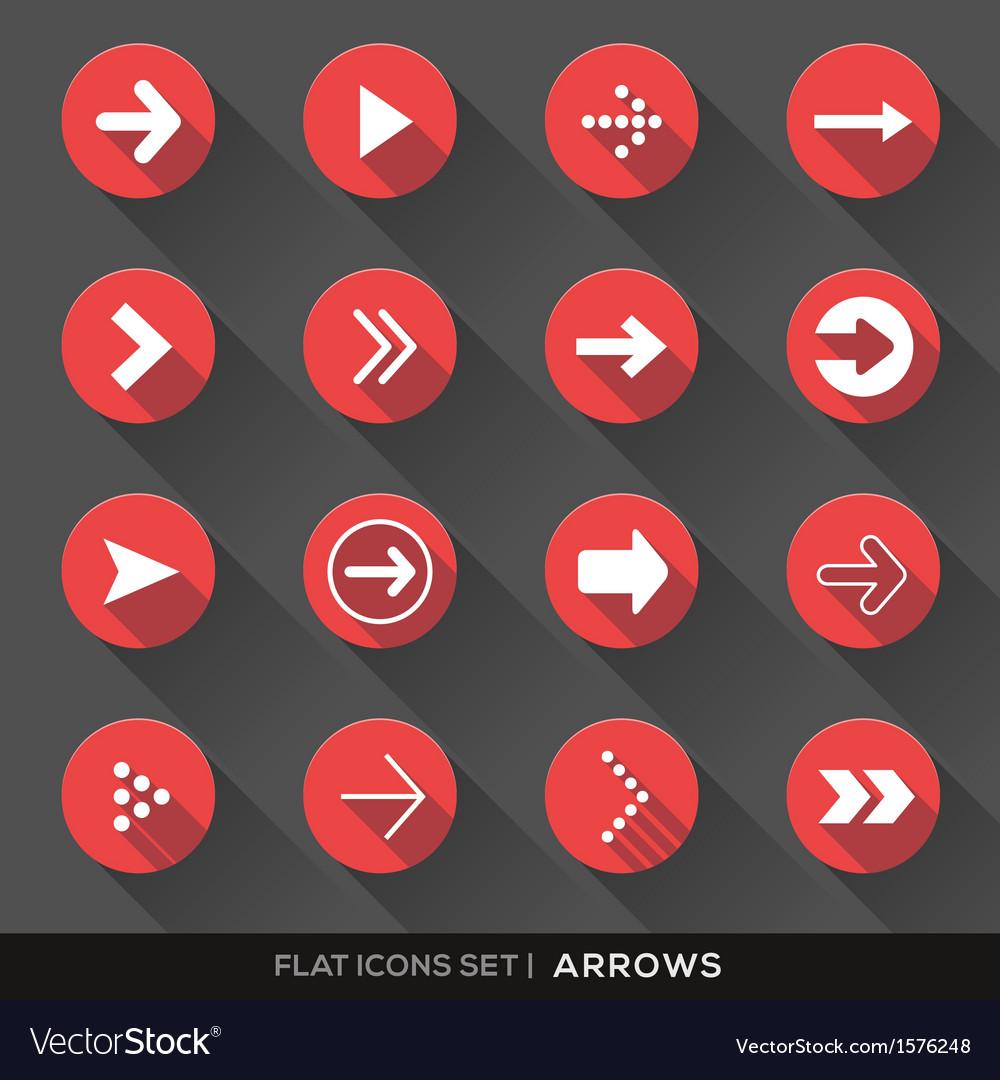 Arrow Sign Flat Icons Set