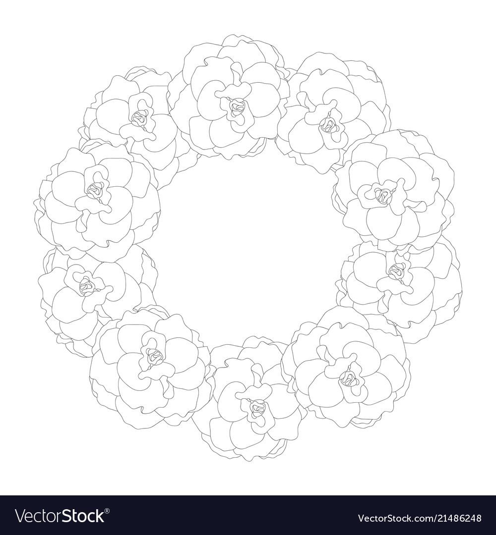 Begonia flower picotee outline wreath
