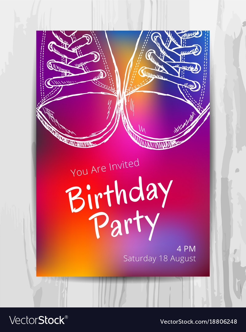 Birthday Party Invitation Card Teenage Party Vector Image