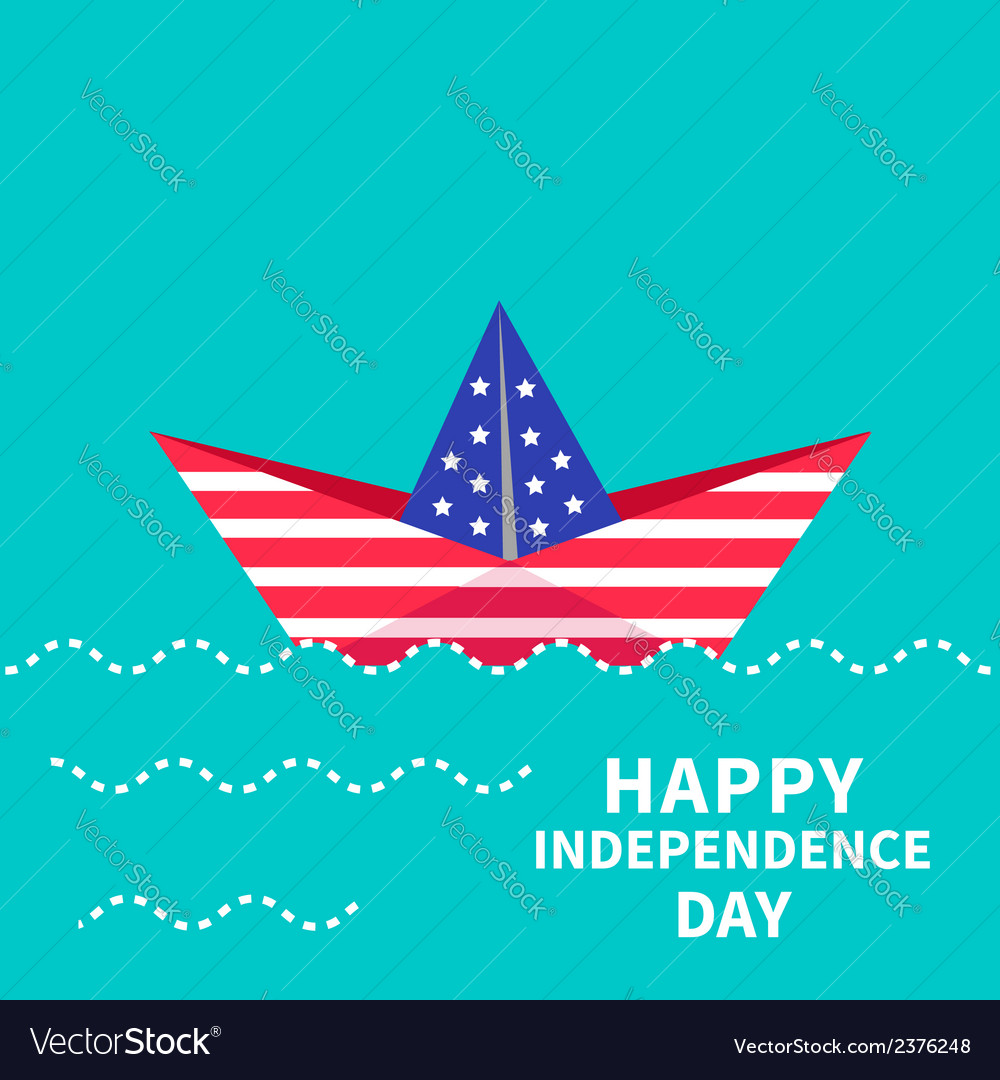 Boat Happy independence day US of America vector image