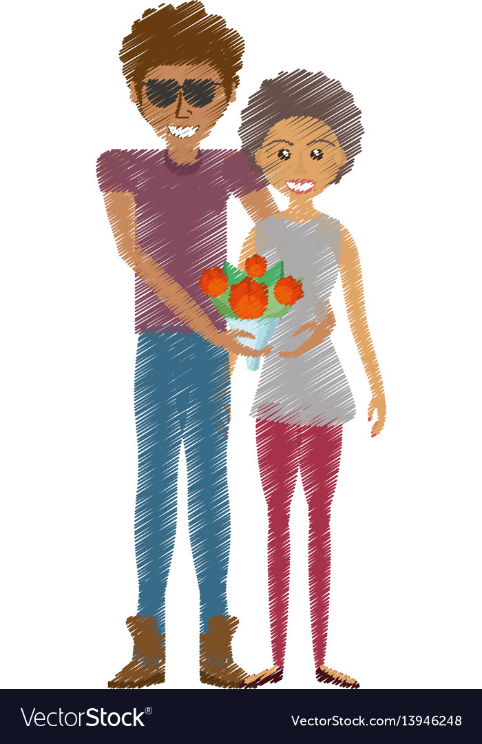 Drawing happy couple romantic bouquet flower
