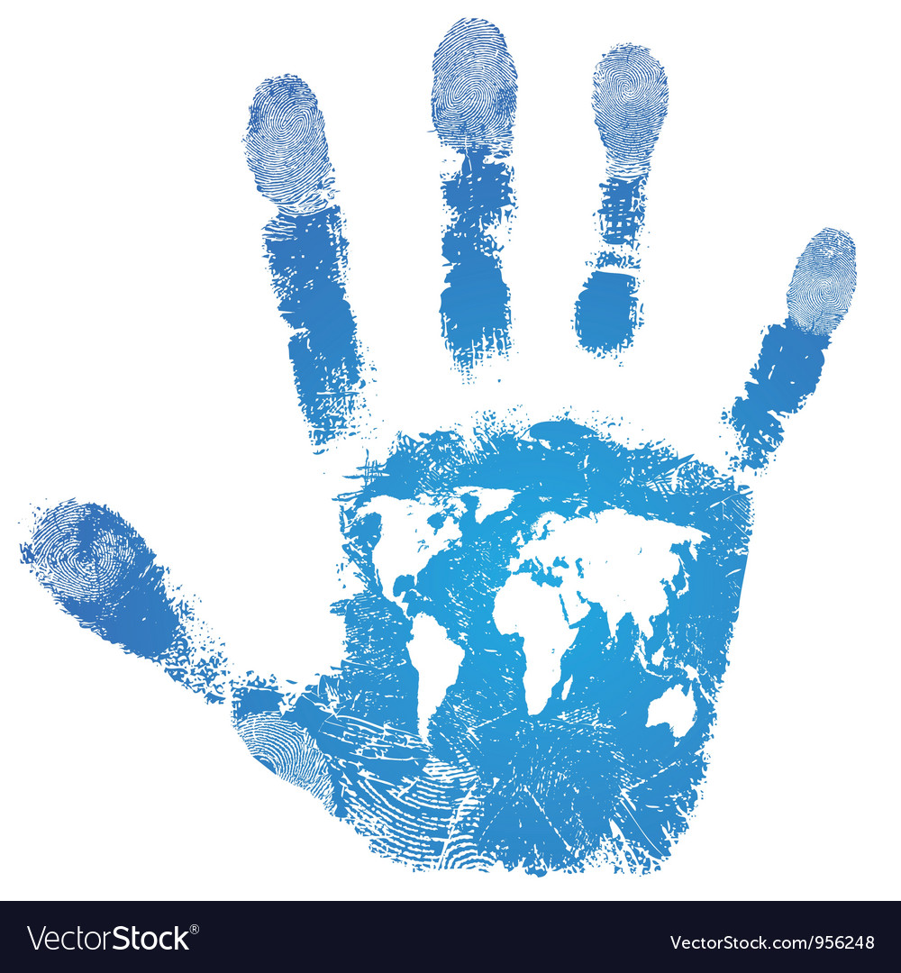 Hand world map print sign people support vector image gumiabroncs Image collections