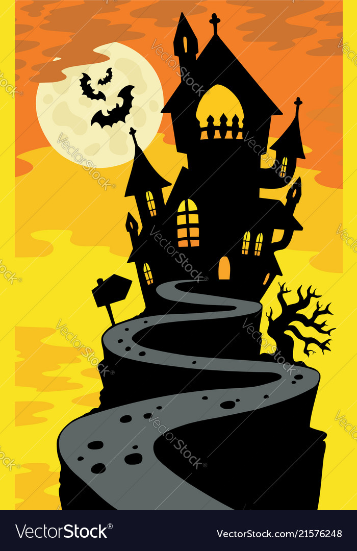 Haunted House Silhouette On Hill Vector Image