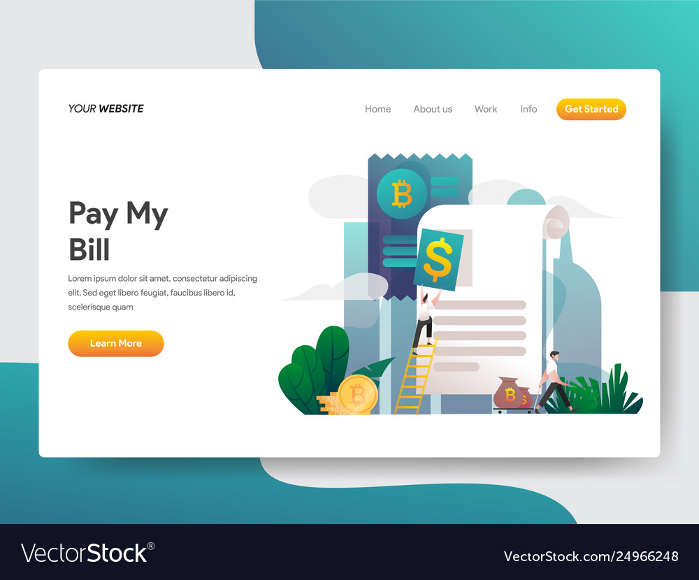 Landing page template money statement or bill