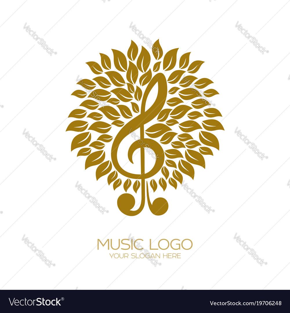 music logo flourishing treble clef vector image