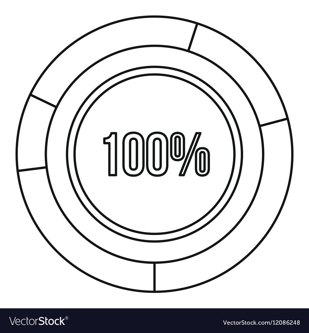 Pie chart circle graph 100 percent icon vector image