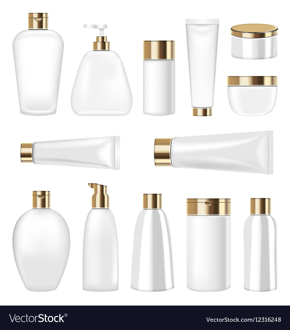 Set Cosmetic Plastic Bottle and Tube Isolated on