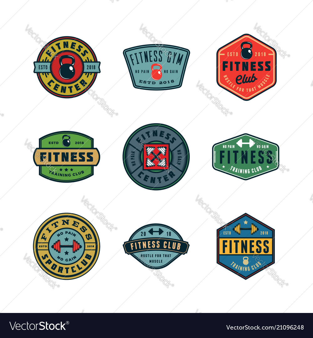 Set vintage fitness gym logos