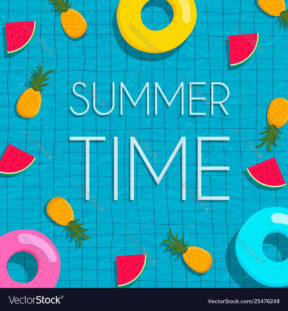 Summer pool card tropical fruits and lifesaver